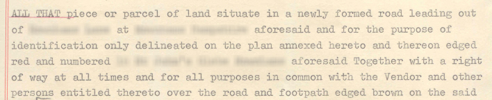 Parcels Clause from a 1970 conveyance